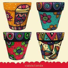 Flower Pot Art, Flower Pot Design, Flower Pot Crafts, Clay Pot Crafts, Painted Plant Pots, Painted Flower Pots, Painted Pebbles, Pots D'argile, Clay Pots