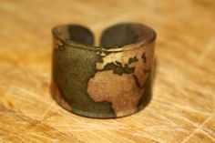 Gold World Map Ring