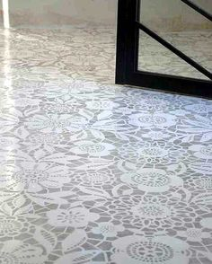 DIY- Lace Stenciled floors