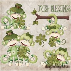 Irish Monkeys 1 Clip Art Set