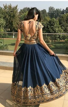 The latest collection of Lehenga choli designs online on happyshappy! Also available in simple, wedding, bridal, rajasthani styles images, find hairstyle on lehengas cholis ideas and save your favourite once. Blue Lehenga, Indian Lehenga, Lehenga Saree, Anarkali, Pakistani, Indian Wedding Outfits, Indian Outfits, Indian Style Clothes, Indian Attire