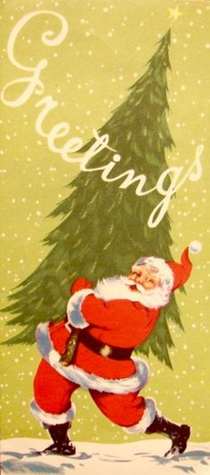 Vintage Santa. Santa with Tree. Greetings. Vintage Christmas Card. Retro Christmas Card.
