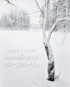 "Whatever names and date you choose ""written"" in the snow!"
