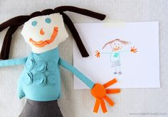 DIY tutorial on how to turn your kid's drawing into a doll