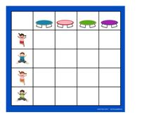 Board for the matrix game. Find the belonging tiles on Autismespektrum on Pinterest. By Autismespektrum Bar Chart, Printables, Education, Board, Tables, Activities, Colors, Autism, Entryway