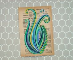 Fennel II  Original Painting on Antique Book Paper by kipi on Etsy, $30.00