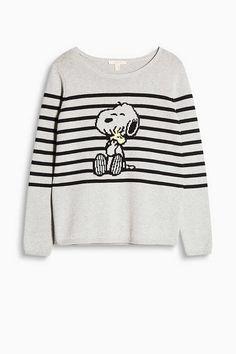 Esprit / Trui met ingewerkte Snoopy print 100% katoen knit sweater light grey black  stripes