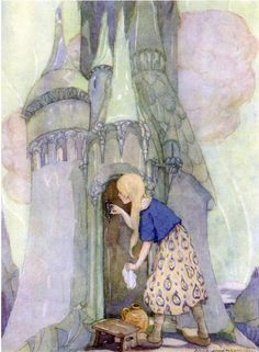 The Seven Ravens  illustrated by Anne Anderson.  'The morning star gave her a bone  o open the glass castle...'