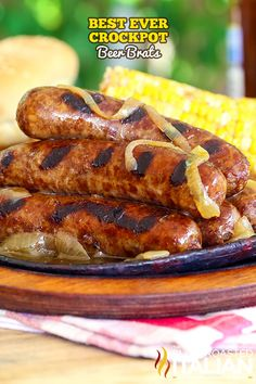 Best Ever Crockpot Beer Brats is an easy recipe, prepped in just 5 minutes. Brats are slow cooked in a mixture of beer and spices to create the most flavorful juicy brat you have ever eaten. Tossed on the grill just long enough to infuse a smoky caramelized grilled flavor and topped with beer cooked onions, these are sure to be on the menu all year long!