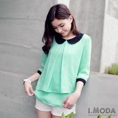 Buy 'OrangeBear – Elbow-Sleeve Contrast-Collar Chiffon Top' with Free International Shipping at YesStyle.com. Browse and shop for thousands of Asian fashion items from Taiwan and more!