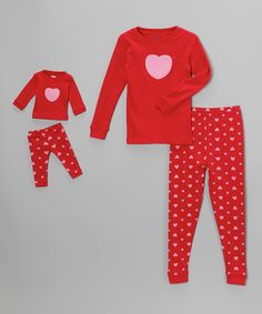 Look what I found on #zulily! Leveret Red & Pink Heart Pajama Set & Doll Outfit - Toddler & Girls by Leveret #zulilyfinds