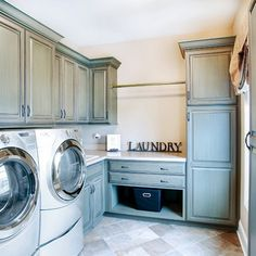Laundry Room Ideas_40 Love the color of these cabinets!!