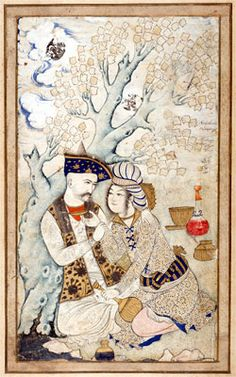 """Muhammad Qasim  (1627)    Wine Pourer    Illuminated miniature of Shah Abbas I (1571-1629) of Persia, embracing his wine boy. The poem reads """"May life grant all that you desire from three lips, those of your lover, the river, and the cup.""""    Musée du Louvre,  Paris, France"""