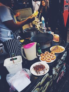 Waffles nutella cream strawberries Donut . Street Food