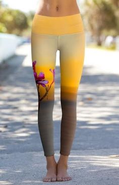 Yoga Journal Store: Power Pants - Sunset Frangipani Blossoms in Labuan Bajo - Printed Performance Leggings. Athletic Outfits, Athletic Wear, Yoga Outfits, Cute Outfits, Mode Yoga, Estilo Fitness, Sport Outfit, Moda Casual, Yoga Leggings