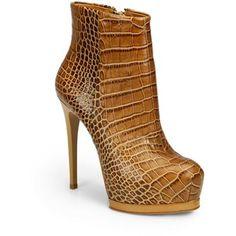 Pour La Victoire Volkova Croc-Print Leather Double Platform Boots