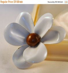 ON SALe Vintage White and Brown Enamel Flower by etherealemporium