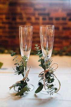 Champagne glasses decorated with twine + greenery for the newlyweds {Cameron Reynolds Photography} # diy wedding glasses Classic Georgia Warehouse Wedding Fall Wedding, Dream Wedding, Wedding Rustic, Trendy Wedding, Wedding House, Indoor Wedding, Church Wedding, Elegant Wedding, Wedding Bride