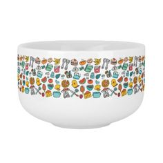 Hand Drawn Foods and Kitchen Tools Soup Bowl With Handle