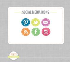 Social Media icons Social Networking Icons - Round web buttons Blog buttons - website icons. $6.00, via Etsy.