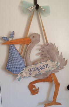 custom Stork Burlap Baby Door Hanger with by danaemilydesigns, $50.00
