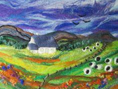 large felt landscape felt art felt painting 20 by SueForeyfibreart, £75.00