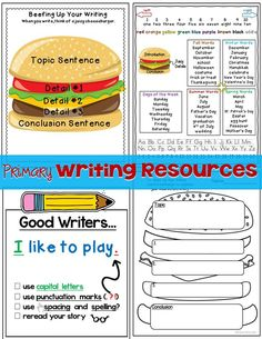 Great resources to help your beginning writers organize their writing and be independent. Can be used to make writing anchor charts for the classroom or individual writing folders.