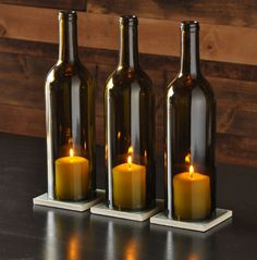 Keep your old wine bottles and use them to block candles from drafts instead. All you need is a few minutes and some glass-cutting tools… Or simply buy them! To create this decorative project for a table centerpiece or garden display, you have to cut the