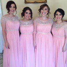 2015 Pink Cap Sleeve Bridesmaid Dresses Long Cheap Chiffon Beaded Sequin Wedding Party Dress
