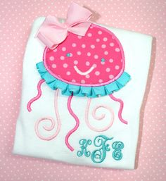 Girly Girls Ruffled Ribbon Jellyfish Applique by bebeboutiques, $25.00