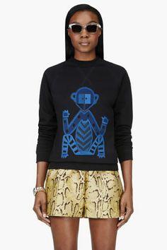 OSTWALD HELGASON Black Tribal Monkey Sweatshirt