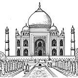 Realistic Drawing Ideas Realistic Drawing of Taj Mahal Coloring Page Drawing Skills, Drawing Techniques, Drawing Ideas, Drawing Tips, Realistic Sketch, Realistic Rose, Cartoon Drawings, Easy Drawings, Taj Mahal India