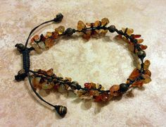 Stone Chip and Wooden Beads Anklet Beaded Anklet by FrancaandNen