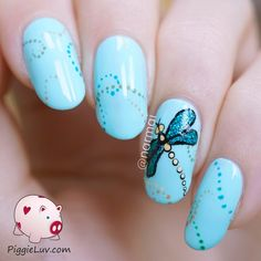 Glitter dragonfly nail art ~ base Picture Polish 'Tiffany' and Digital Nails 'Anomaly' glitter applied using a makeup sponge (area masked off with Liquid Palisade) ~ link to video tutorial ~ by PiggieLuv
