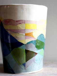 HELEN MARKOW, 1988, Handpainted ceramic vase, signed by artist. (How amazing to find something made by my mom having sold on Etsy!)