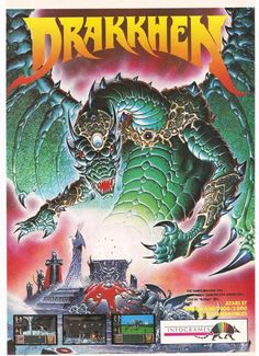 Vintage computer game poster from 1990 for the game Drakkhen from Infrogames