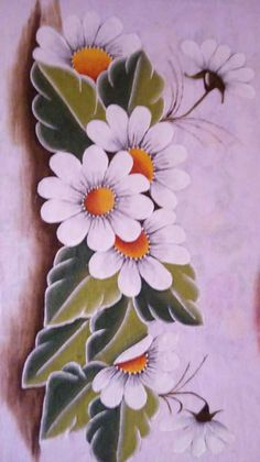 Pinturas One Stroke Painting, Tole Painting, Fabric Painting, Painted Rocks, Hand Painted, Fabric Paint Designs, Ribbon Embroidery, Watercolor Flowers, Flower Patterns