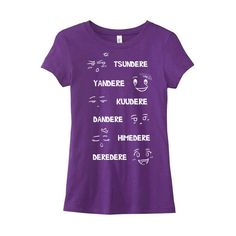 Anime Shirt Dere Type T-Shirt Yandere Kuudere Tsundere Anime Tee Japan... ($20) ❤ liked on Polyvore featuring tops, t-shirts, anime, purple, women's clothing, cotton shirts, checkered shirt, screen print shirts, purple tee and animal t shirts