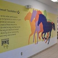 Boxwood P. Hand painted mural on cinder block wall. Cinder Block Walls, School Hall, School Murals, 3rd Grade Art, Leader In Me, Mural Ideas, 7 Habits, Mural Painting, Art Therapy