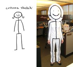 DIY Stick Figure last minute halloween costume - white clothes with black electrical tape and a cardboard head Halloween Costume Collection Stick Figure Halloween Costume, Last Minute Halloween Costumes, Easy Costumes, Costume Ideas, Funny Costumes, Adult Costumes, Halloween Clothes, White Costumes, Children Costumes