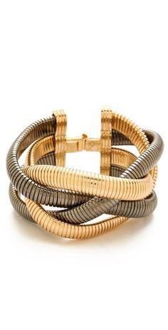 mixed metallic bracelet.