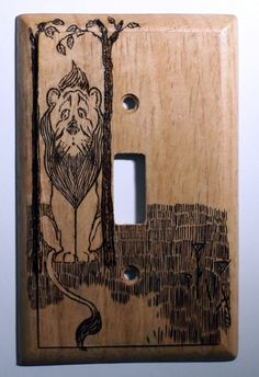 Pyrography, Wizard of Oz, Cowardly Lion Switchplate