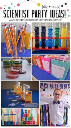 Birthday: Lots of Fabulous Scientist Party Ideas! SUPER cute Scientist party with experiments, DIY, treats, accessories and more - SO SO fun!The Idea The Idea may refer to: Nerd Party, Spy Party, Party Games, Mad Science Party, Mad Scientist Party, Science Cake, Boy Birthday Parties, 9th Birthday, Home Birthday Party Ideas