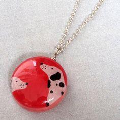 Spotty dogs resin necklace