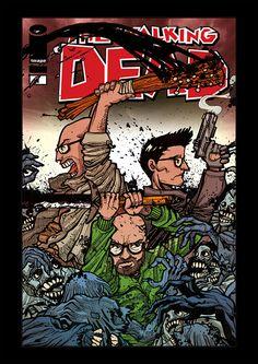 A Walking Dead cover in my style...with my friend! #walking #dead #romero #zombie #cover #comics #fumetti #friend #illustration #horror #apocalypse #blood