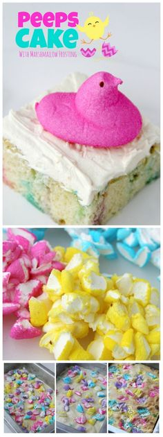 Peeps Cake With Marshmallow Frosting - This cake incorporates bits of Peeps right into the baking process, producing a colorful and slightly sweetened cake with a fluffy, marshmallow frosting that literally melts in your mouth! Peeps Recipes, Easter Recipes, Holiday Recipes, Peeps Cake Recipe, Frosting Recipes, Cake Recipes, Dessert Recipes, Easter Treats, Easter Peeps