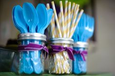 Cute, customizable idea for utensils. Change ribbon, straw and utensil colors to suit theme.