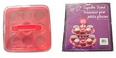 Cupcake Holder Set – Red Plastic - NO BPA Cupcake 9 Piece Carrier With Cardboard #Mainstays