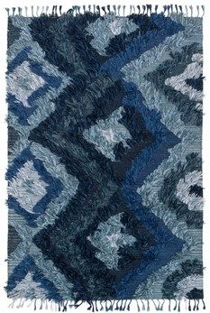 """Justina Blakeney Fable Collection FD-06 INDIGO Hand Woven Viscose from Bamboo 