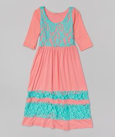 Look what I found on #zulily! Coral Lace Maxi Dress - Toddler & Girls #zulilyfinds